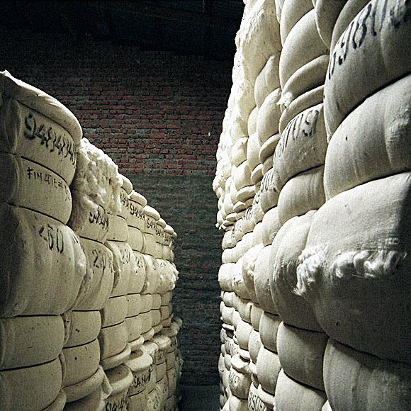 積み上がった原綿