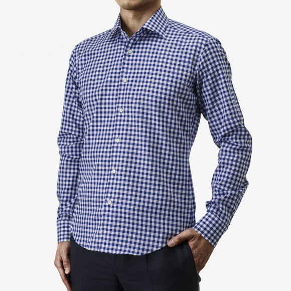 The Soft Gingham Check(blue) シャツ着用