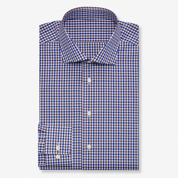 The Gingham Check(brown-blue white) シャツ
