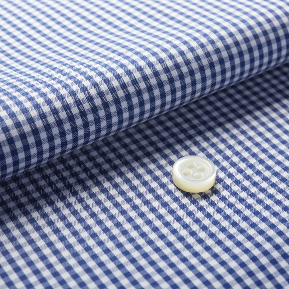 The Stretch Gingham(navy white) 生地