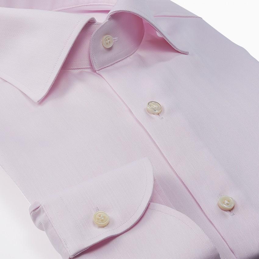 The Dressy Herringbone(pink) シャツ斜め
