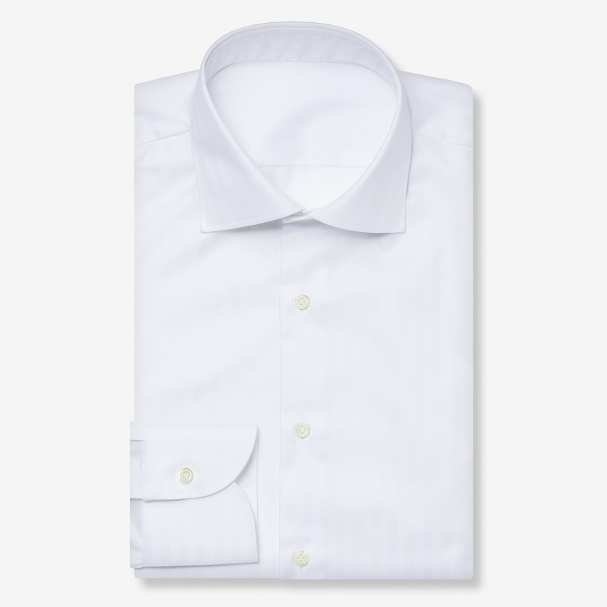 The Traditional Dobby Stripe(white) シャツ