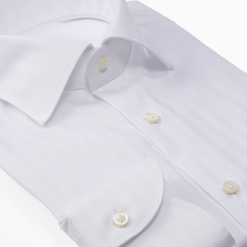 The Traditional Dobby Stripe(white) シャツ斜め